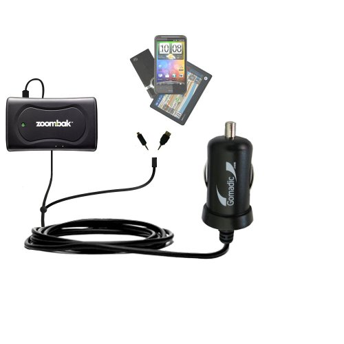 Double Port Micro Gomadic Car / Auto DC Charger suitable for the Zoombak Advanced GPS Universal Locator - Charges up to 2 devices simultaneously with Gomadic TipExchange Technology ()