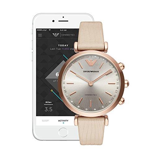 Emporio Armani Womens ART3020 Hybrid Analog Display Quartz Beige Smart Watch