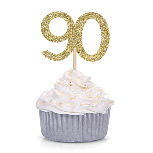 24 PCS Gold Number 90 Cupcake Toppers 90th Birthday and Anniversary Celebrating Party Decors