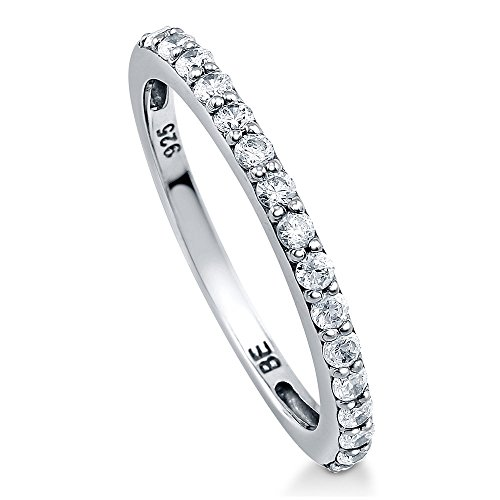 BERRICLE Rhodium Plated Sterling Silver Cubic Zirconia CZ Wedding Half Eternity Band Ring Size 5.5