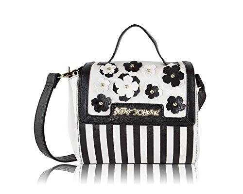 Betsey Johnson Flower Flap Triple Compartment Messenger Handbag - Black Multi (Betsey Johnson Lily)