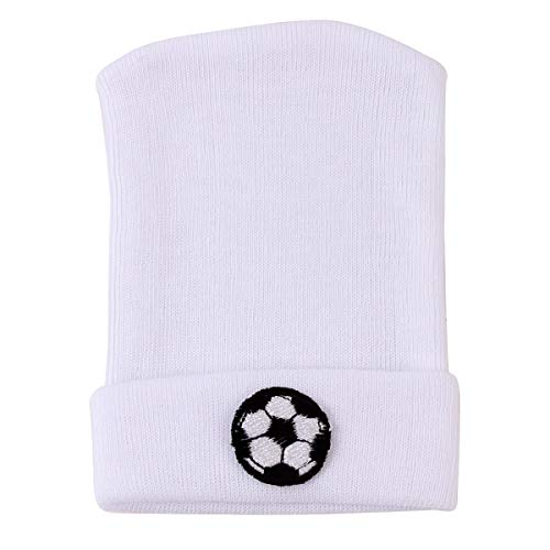 Jinxuny Fetal Cap Baby Cartoon Embroidery Decoration Fetal Cap Soft Safe Sleeve Hat Keep Warm Cute Cap for 0 to 6 Months Baby Newborn Infant (Color : Pure White Football)