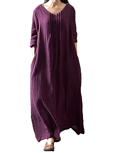Romacci Women's Casual Loose Maxi Long Dress Vintage Long Sleeve Cotton Dress Purple