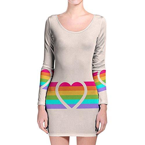 Rainbow corazón de manga larga Bodycon vestido