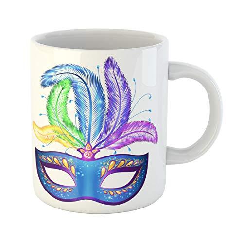Semtomn Funny Coffee Mug Orange Blue Ornate Venetian Carnival Mask Colorful Feathers Yellow 11 Oz Ceramic Coffee Mugs Tea Cup Best Gift Or Souvenir