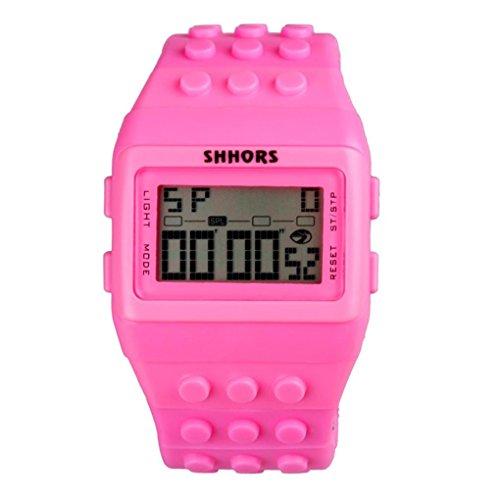 Woaills - LED Lighting Unisex Colorful Digital Waterproof Wrist Watch (Pink) ()