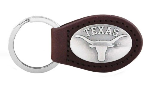 NCAA Texas Longhorns Brown Leather Concho Key Fob, One Size