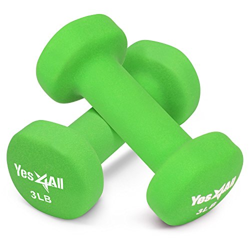 Yes4All 3 lbs Dumbbells Neoprene with Non Slip