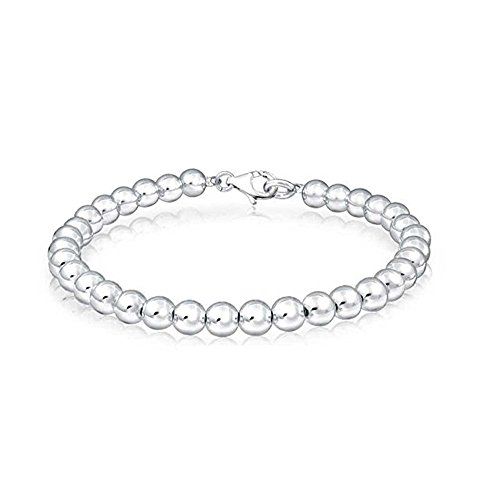 Oxford Diamond Co Sterling Silver Ball Bead Chain 5mm Made in Italy Solid 925 Womens Mens Bracelet 8