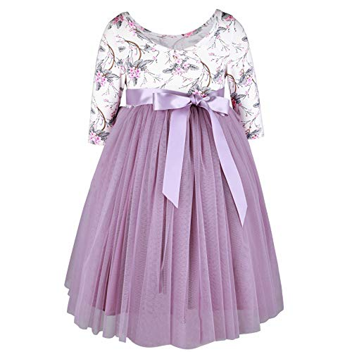 (Flofallzique Vintage Floral Long Sleeve Maxi Girls Easter Dress V Back for 1-12 Years Old (4, Vintage)