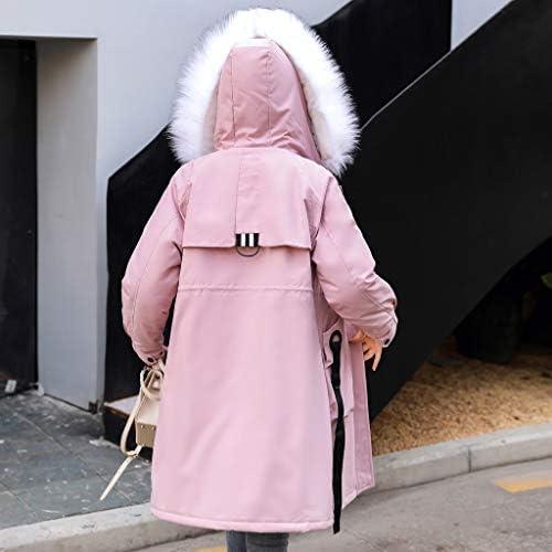 Tonsee Femmes Hiver Chaud Épais Couleur Pure Col De Fourrure Survêtement À Capuche Manteau Slim Fit Coton Veste Rembourrée