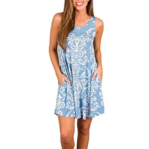 JYC Playa Vestido Mujer Verano 2018,Vestidos Elegantes Encaje,Vestidos Mujer Corto Vintage Mangas, Mujer Verano Boho Maxi Noche Fiesta playa Floral Vestir Azul