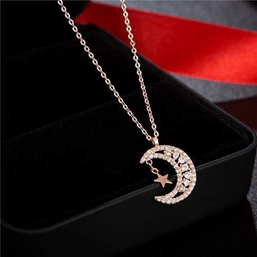 Zircon pendant necklace Star moon necklace simple collarbone chain ceiling pendant necklace