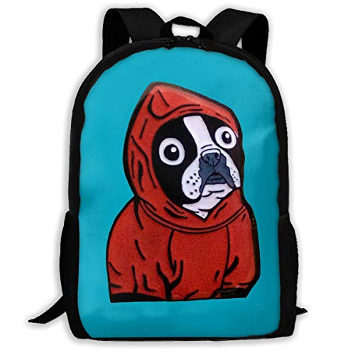 (PengLi Boston Terrier in A Red Hoodie Adult Outdoor Leisure Sports Backpack and School Backpack)