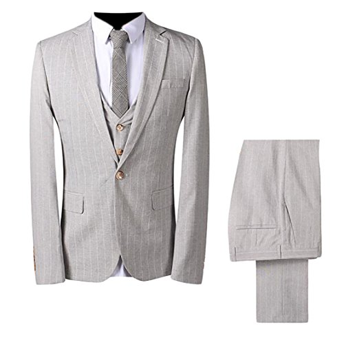 ouxiuli Mens Classic 3 Piece Pinstripe One Button Slim Fit Dress Jacket Vest Pants Set Light Grey L (Grey Pinstripe Suit Jacket)