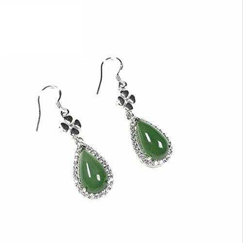 Mkxiaowei Hotan Jasper 925 silver inlaid earring ()