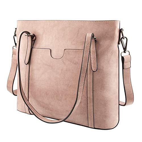 GENESS Herren Umhängetasche, Premium Messenger Bag Schultertasche Herrentasche, Kuriertasche Laptoptasche für Zoll Laptop, Unisex Casual Vintage Arbeitstasche Studententasche Umhänge Tasche (Pink Die Tasche)