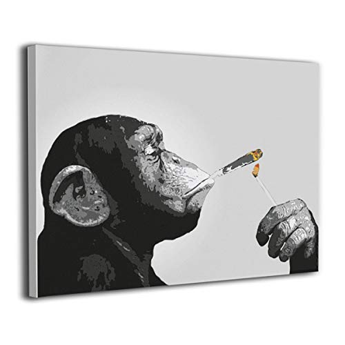 LP ART Canvas Print Wall Art Monkey Chimp Smoking Spliff Picture Painting for Living Room Bedroom Modern Home Decor Ready to Hang Stretched and Framed Artwork 16''x20'' ()