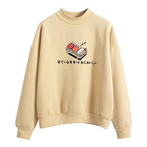 Shoresu Womens Winter Hoodies Candy Color Kawaii Sushi Print Sweatshirt Thicken Fleece Pullover Loose Tracksuit - Khaki - Large