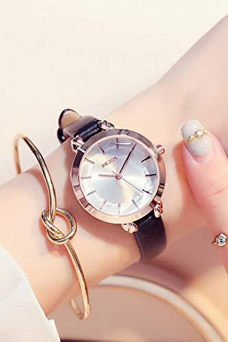 Heart-Shaped Diamond Cutting face Girl dial Quartz Watch Creative Ladies Watch Student Waterproof Leather Belt (Black