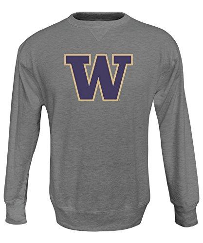 Alta Gracia NCAA Washington Huskies Men's Crew 50/50 Fleece Sweater, Large, Gray