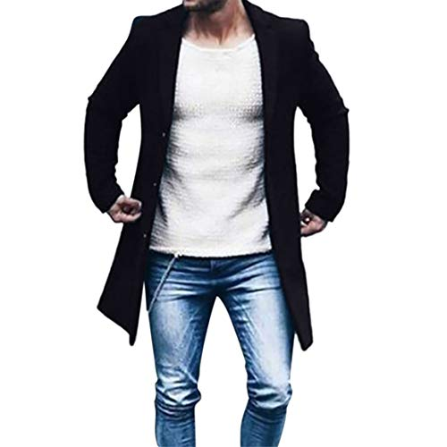 Blouse Veste Bellelove Costume Slim Trench Manteau vent Hommes coat Top Manches D'hiver Longues Pour Outwear À Automne Noir Homme Bouton Coupe C7aqnC