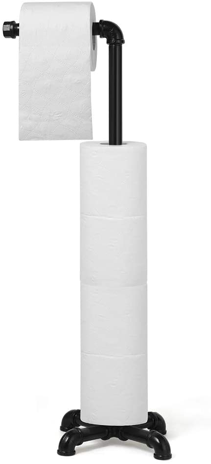 Toilet Paper Holder Stand Free Standing Toilet Tissue Paper Roll Holder Toilet Paper Storage Dispenser Bathroom Organization Industrial Cast Iron Pipe Black Kitchen Dining