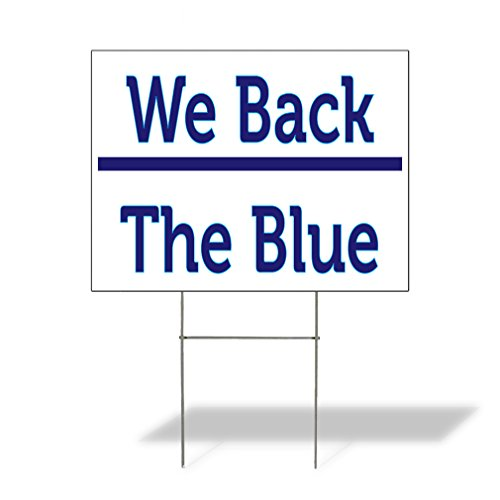Plastic Weatherproof Yard Sign We Back The Blue Cheerleading Brown Team for Sale Sign Multiple Quantities Available 18inx12in One Side Print One Sign