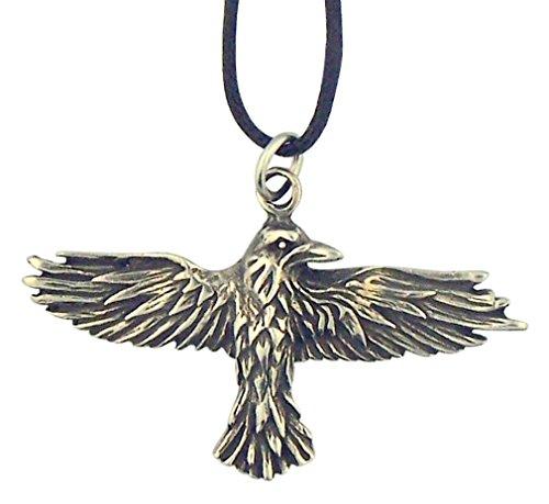 Soaring Celtic Raven 1 3/4 Inch Silver Tone Pendant on Cord Chain
