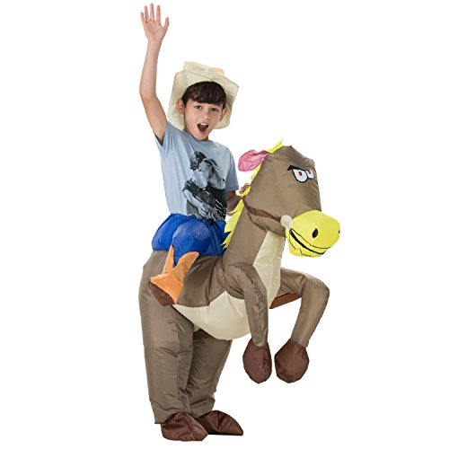 TOLOCO Inflatable Western Cowboy Riding Horse Halloween Costume (Horse-Child) (Inflatable Bull Rider Costume)