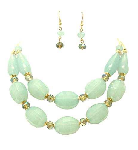 """Lucite Chunky Acrylic (Pale Sea Foam Green Chunky Double Strand Acrylic and Gold-Tone Necklace, 18"""", with Dangle Drop Earrings)"""