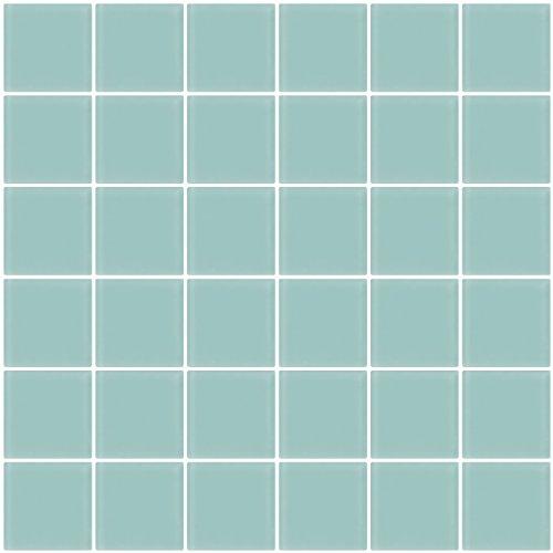 Susan Jablon Mosaics - 2x2 Inch Light Aqua Blue Frosted Glass Tile