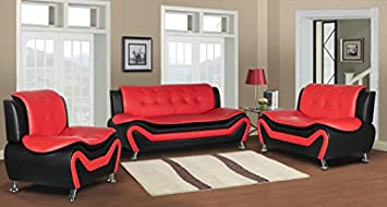 Container Furniture Direct S5412-S C Arul Linen Upholstered Mid Century Modern Set with 77.5 Sofa Chair, Black Red