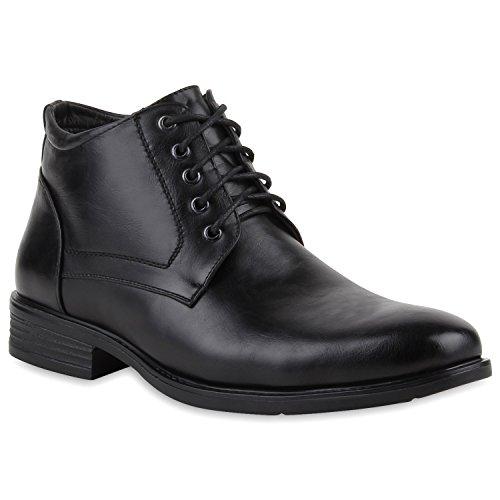 Herren Worker Boots Schnürstiefeletten Leder-Optik Blockabsatz Profilsohle Schnürer Schuhe Schnallen Schnürboots Flandell Schwarz Gefüttert Basic