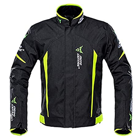 LALEO Chaqueta de Moto Unisex Impermeable Ajustable Mantener Caliente Resistente Cuatro Estaciones Adecuadas Corte Ajustado con Armours CE y Reflexivo Chaqueta para Motocicleta Negro