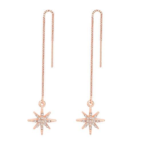 MANZHEN Sparkly Crystal Star Threader Drop earrings Chain Ear Threader (rose gold)