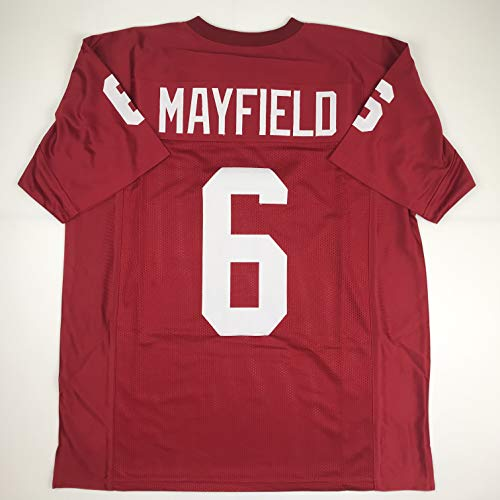 Oklahoma Sooners Jersey - Unsigned Baker Mayfield Oklahoma Maroon College Custom Stitched Football Jersey Size Men's XL New No Brands/Logos