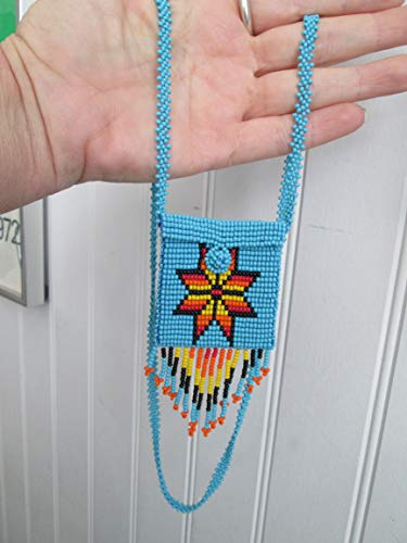 - blue starburst orange turquoise medicine Hand beaded Guatemalan central american Native design medicine bag stash pouch necklace fair trade southwest glass beads Aztec Indian design Ethnic beads bead