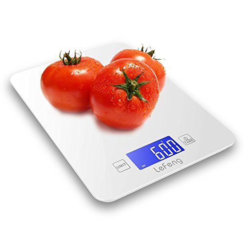 LeFeng Digital Kitchen Scale Baking, Food Scales Grams for Dieting Cooking Accurate, Smooth Tempered Glass with Touch Screen, White (4 Batteries Included )