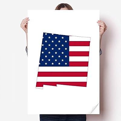 DIYthinker America Map Stars Stripes Flag Shape Vinyl Wall Sticker Poster Mural Wallpaper Room Decal 80X55cm