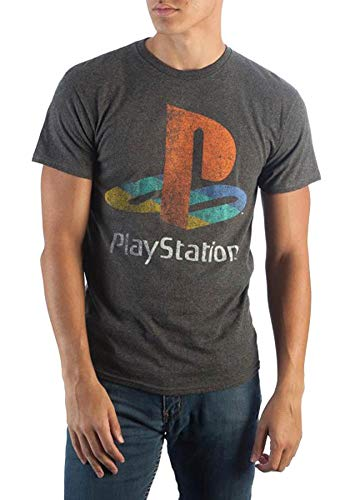 Sony Playstation Shirt Classic Logo Distressed Heather T-Shirt (Medium) Charcoal (Ps2 Shirt)
