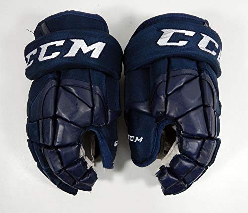 2018-19 Kalamazoo Wings #11 Game Used CCM HGP14 Pro Stock Navy Hockey Gloves 14 - NHL Game Used