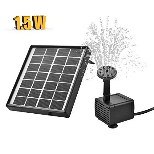 NI-SHEN Solar Fountain Pump for Birdbath, 1.5W Solar Powered Water Pump with Extra Buoy 6 Fountain Modes,Perfect for Garden Decoration, Bird Bath, Fish Tank, Small Pond, Water Circulation for Oxygen.