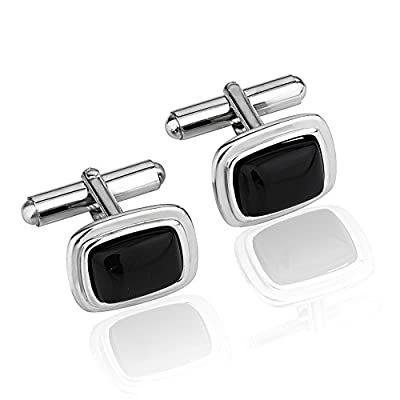 Rhodium Plated 925 Sterling Silver Black Resin Rectangular Cuff Links Set of Two (2) Men's Cufflinks