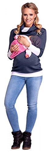 Happy Mama Boutique 348p Sudadera de maternidad con capucha, cuello de contraste - azul Dark Jeans & White Medium