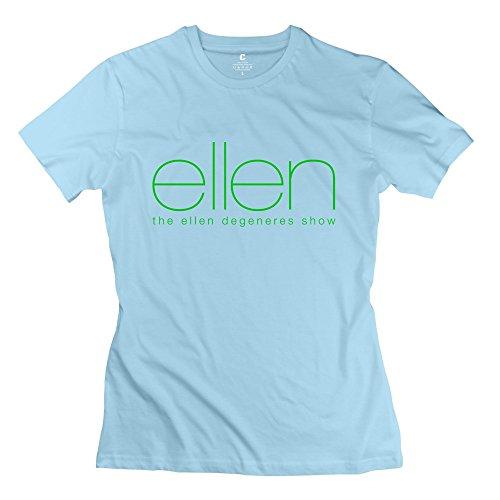 Womens Ellen Degeneres Comedian O-neck Tees Size XL SkyBlue