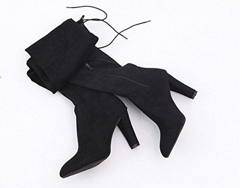 HCFKJ Elegant Boots Women Knee High Boots Rugged Rear High Heels Rugs Faux Leather Boots Ladies Girls Black kFD4iYV