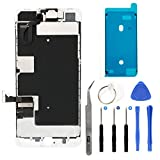Full Screen Replacement LCD 3D Touch Assembly Front Camera Ear Speaker Shield Plate with Frame Adhesive and Repair Tools for iPhone 8 Plus 5.5 inch (White)