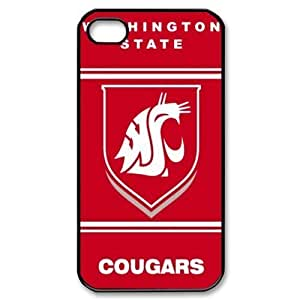 Sport 3 NCAA Washington State Cougars Print Black Case With Hard Shell Cover for Apple iPhone 4/4S