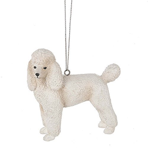 Standard Poodle White 3 x 3 Inch Resin Christmas Ornament Figurine (Standard White Poodle)
